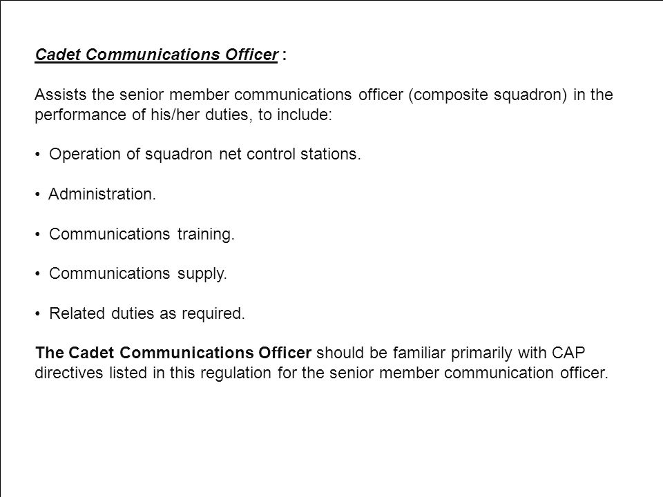 Cadet Communications Officer :