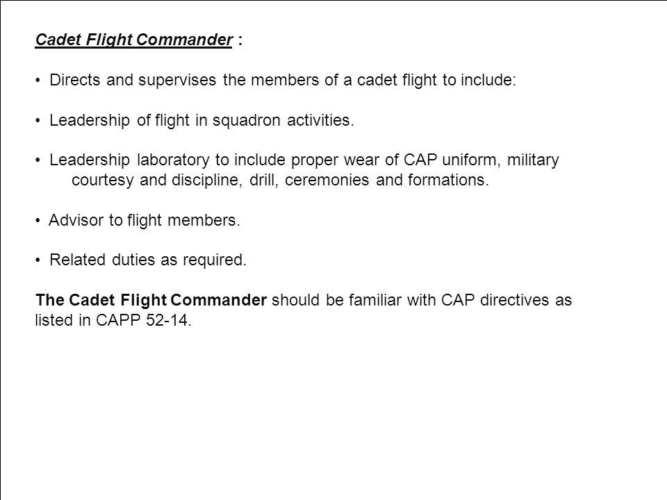 Cadet Flight Commander :