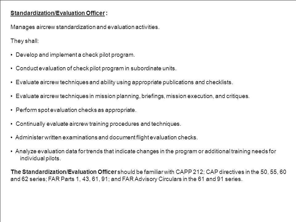 Standardization/Evaluation Officer :