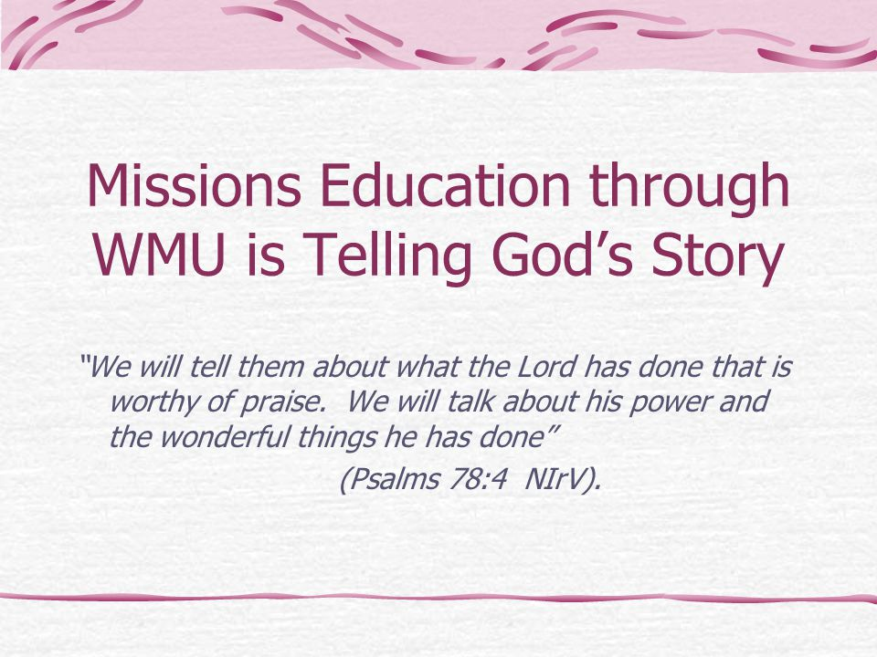 Missions Education through WMU is Telling God's Story