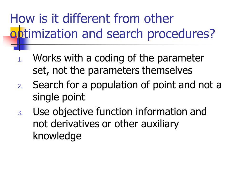 How is it different from other optimization and search procedures