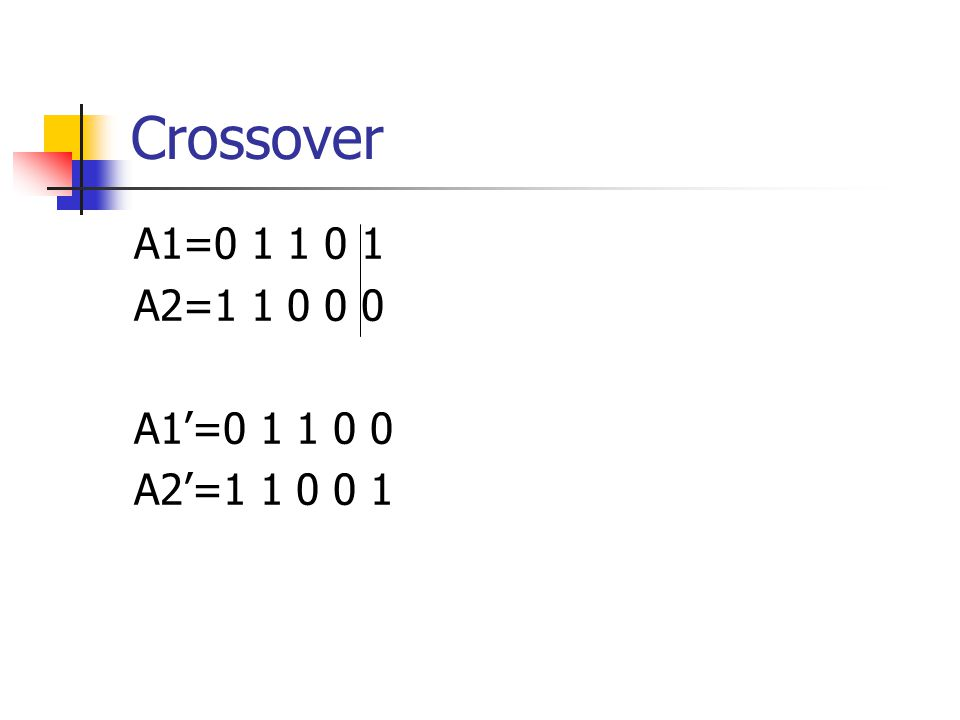 Crossover A1=0 1 1 0 1 A2=1 1 0 0 0 A1'=0 1 1 0 0 A2'=1 1 0 0 1