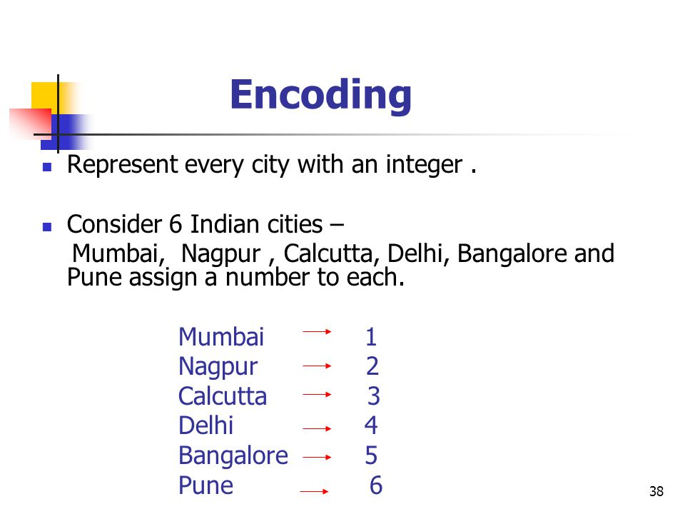 Encoding Represent every city with an integer .