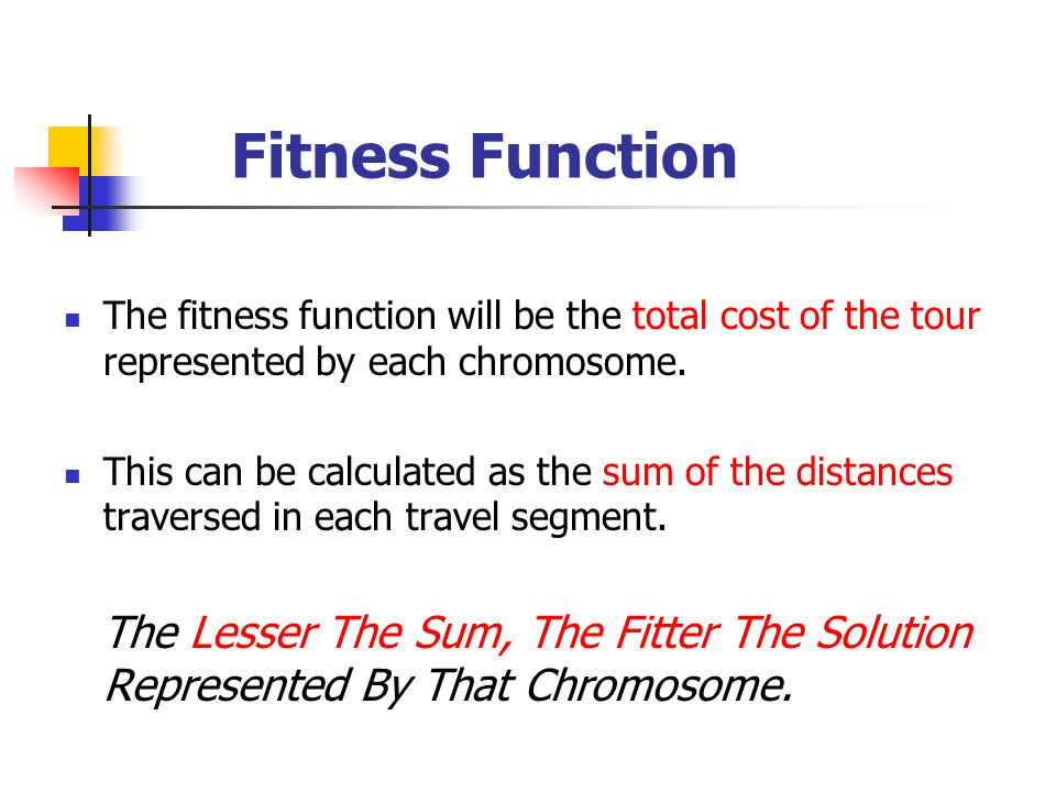Fitness Function The fitness function will be the total cost of the tour represented by each chromosome.