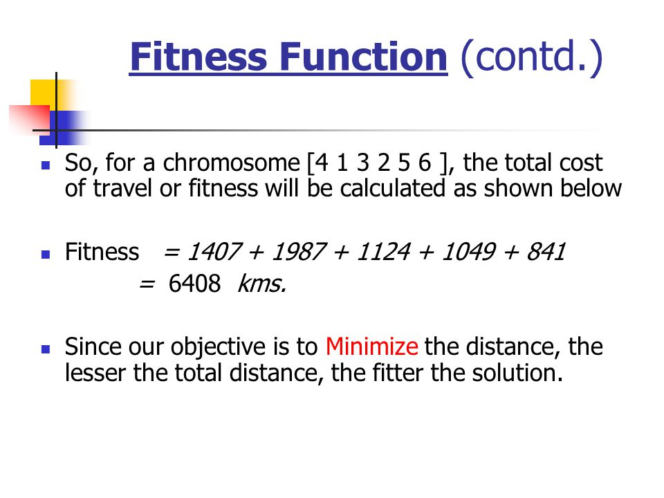 Fitness Function (contd.)