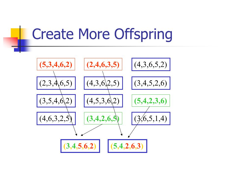 Create More Offspring (5,3,4,6,2) (2,4,6,3,5) (4,3,6,5,2) (2,3,4,6,5)