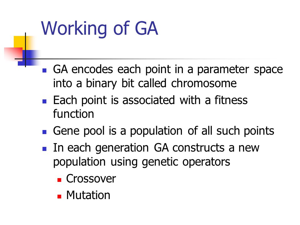 Working of GA GA encodes each point in a parameter space into a binary bit called chromosome. Each point is associated with a fitness function.