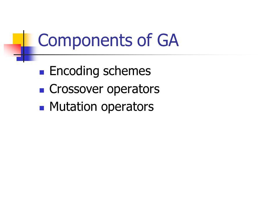 Components of GA Encoding schemes Crossover operators