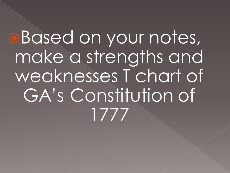 Based on your notes, make a strengths and weaknesses T chart of GA's Constitution of 1777