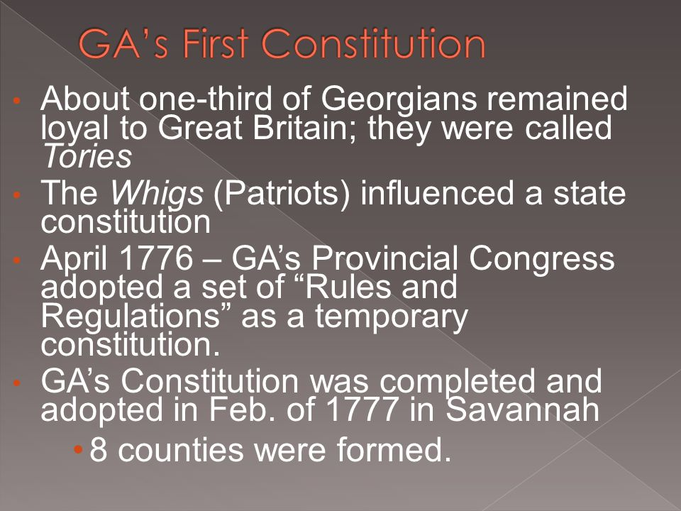 GA's First Constitution