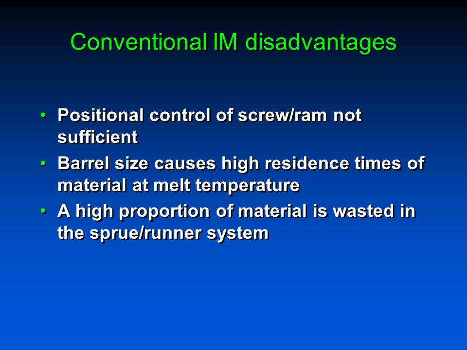 Conventional IM disadvantages
