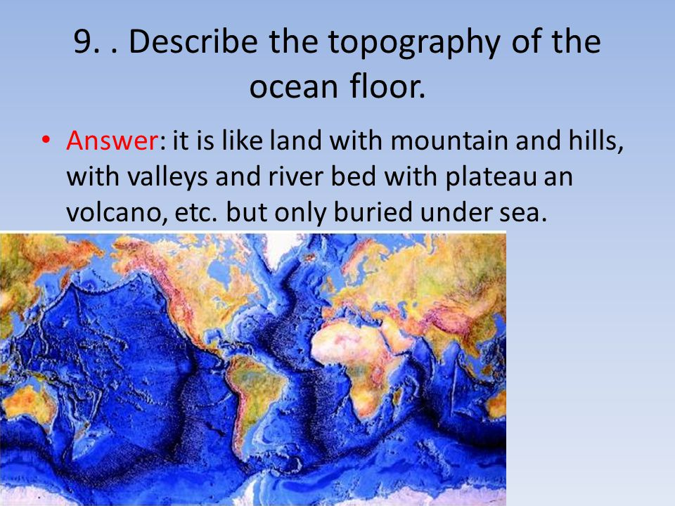 9. . Describe the topography of the ocean floor.