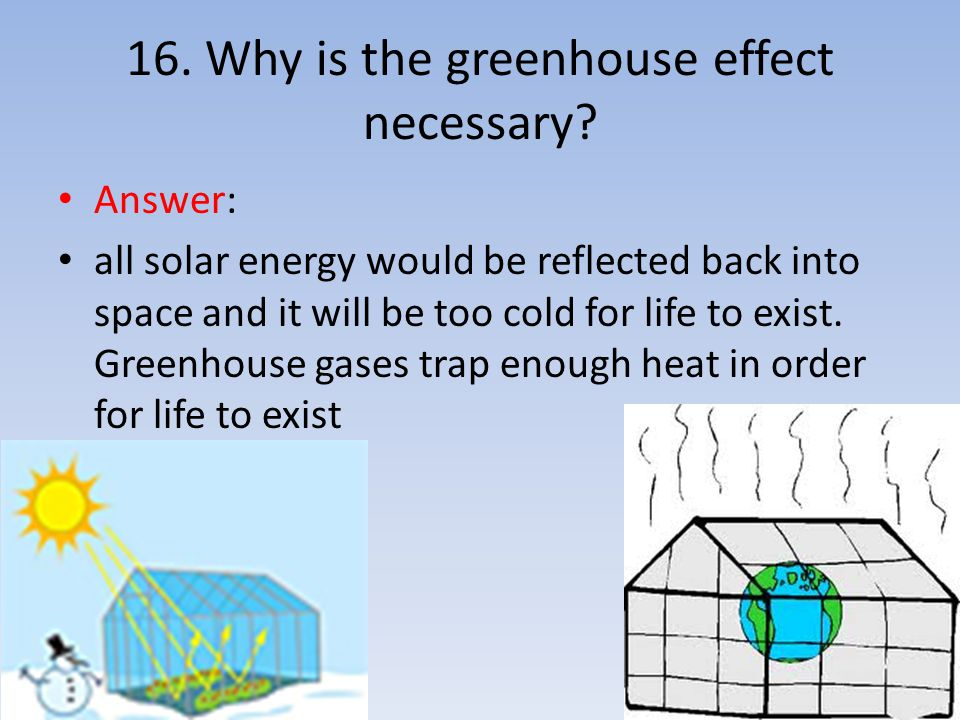 16. Why is the greenhouse effect necessary