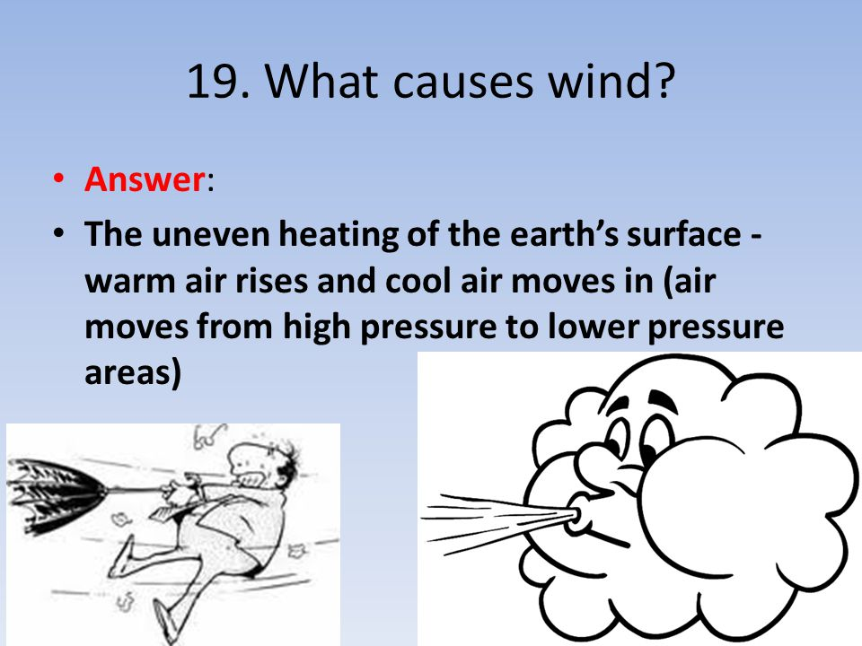 19. What causes wind Answer: