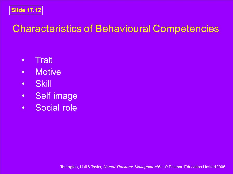Characteristics of Behavioural Competencies
