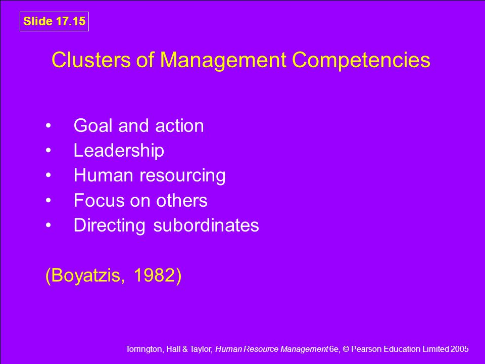 Clusters of Management Competencies