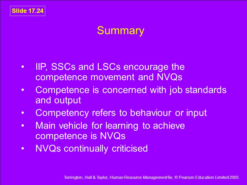 Summary IIP, SSCs and LSCs encourage the competence movement and NVQs