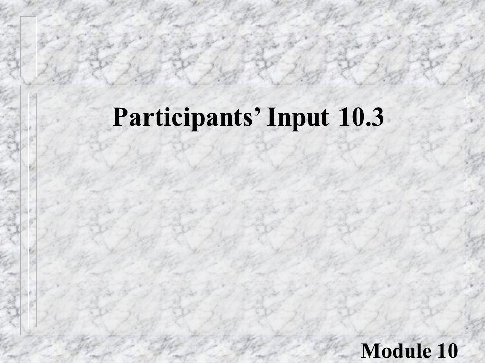 Participants' Input 10.3 Module 10