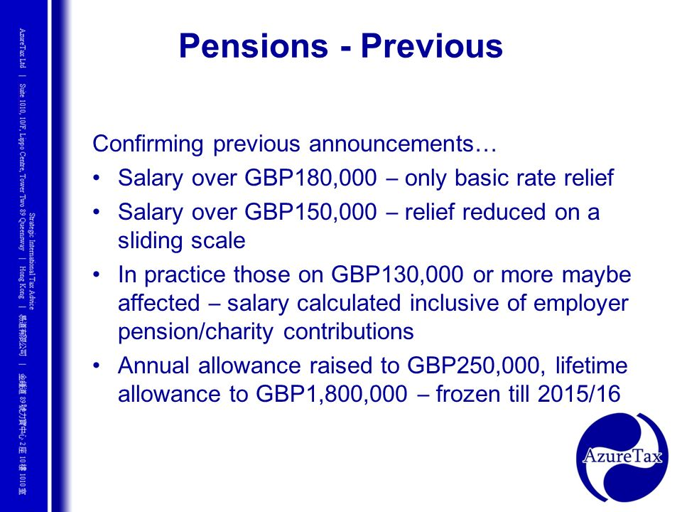 Pensions - Previous Confirming previous announcements…
