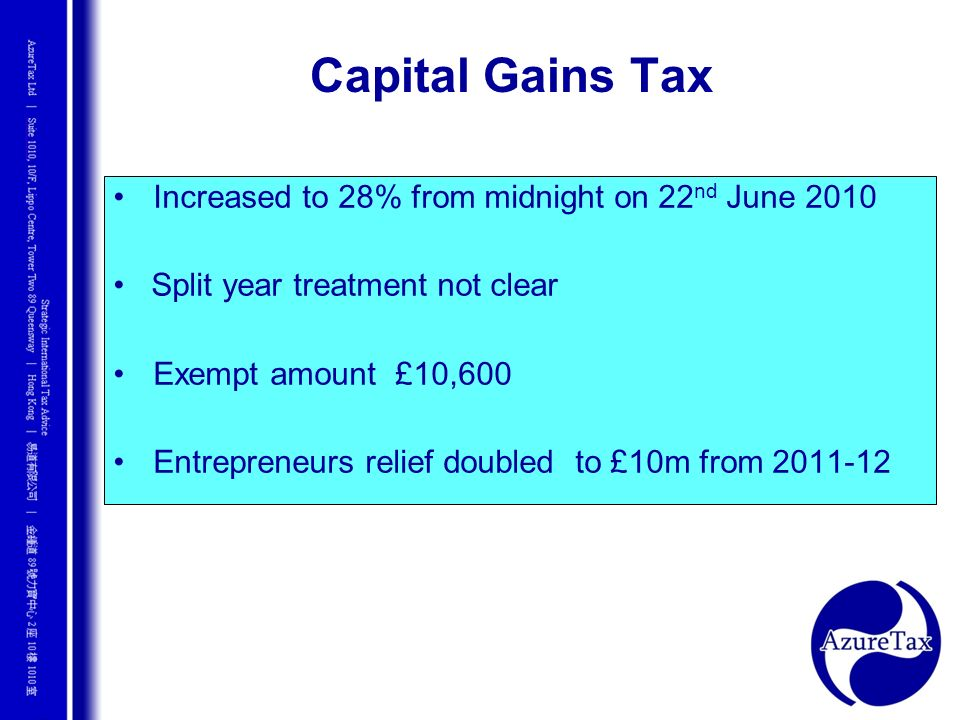 Capital Gains Tax Increased to 28% from midnight on 22nd June 2010
