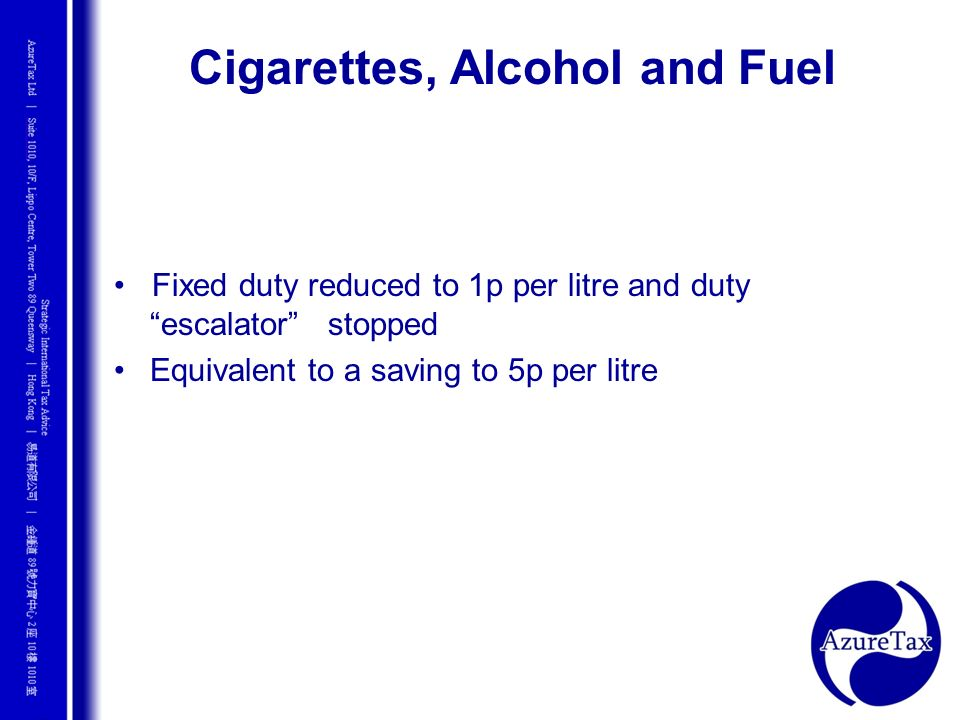 Cigarettes, Alcohol and Fuel