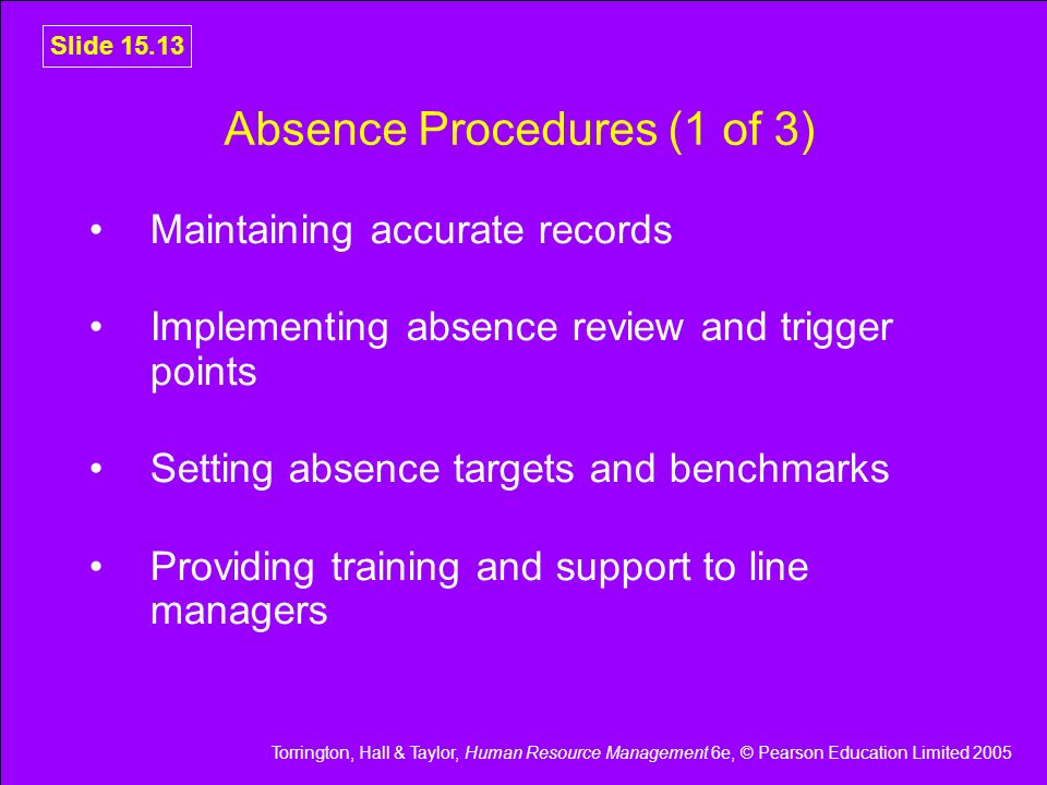 Absence Procedures (1 of 3)