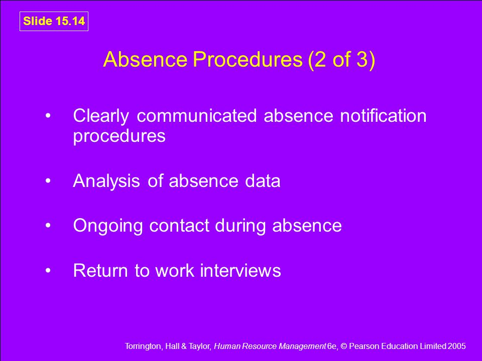 Absence Procedures (2 of 3)