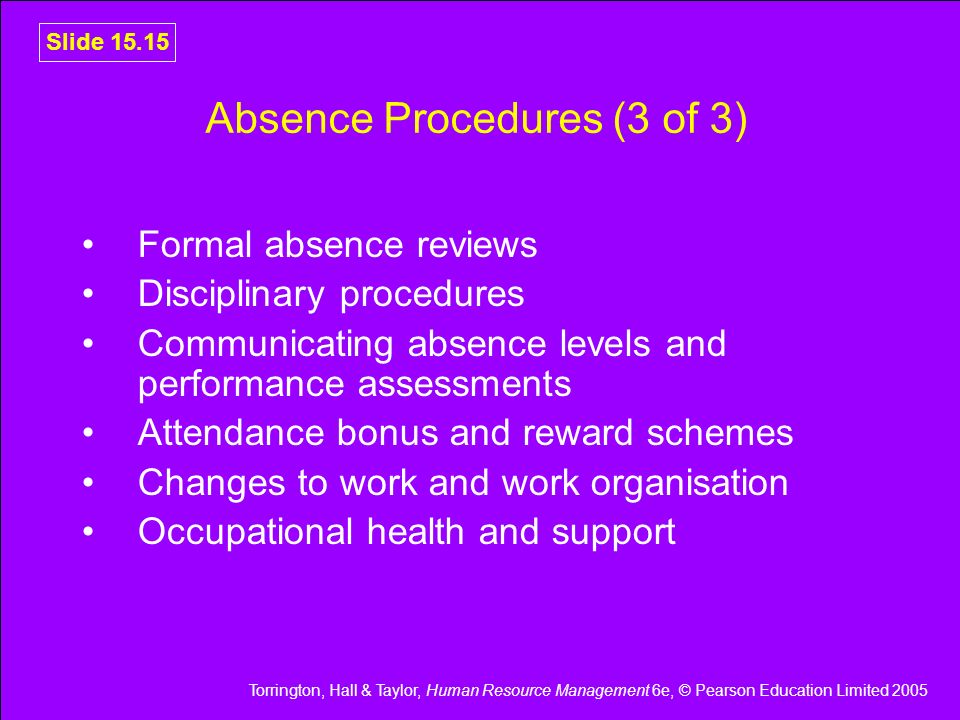Absence Procedures (3 of 3)