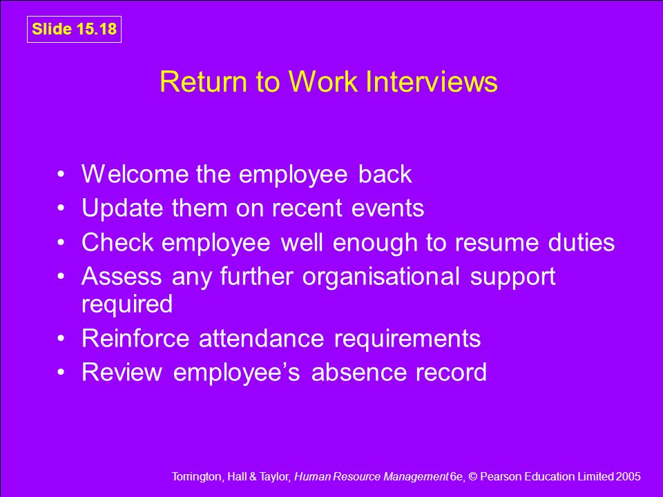 Return to Work Interviews