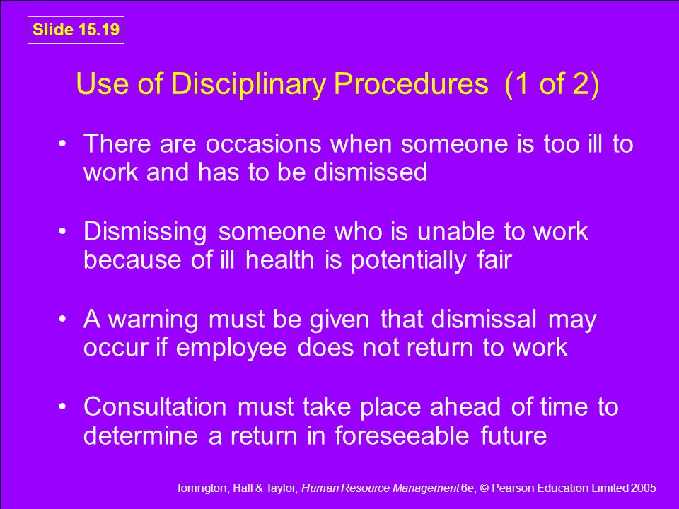 Use of Disciplinary Procedures (1 of 2)