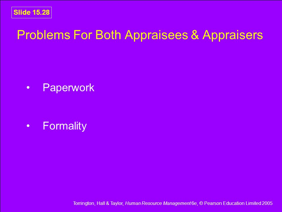 Problems For Both Appraisees & Appraisers