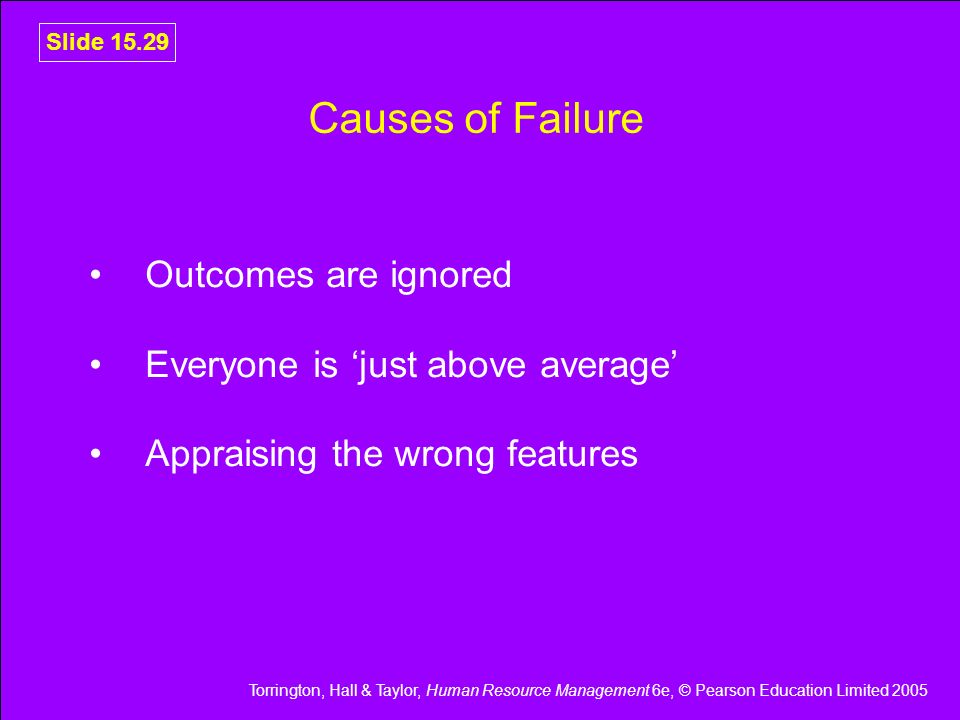 Causes of Failure Outcomes are ignored