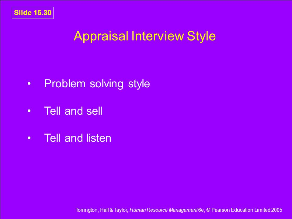 Appraisal Interview Style