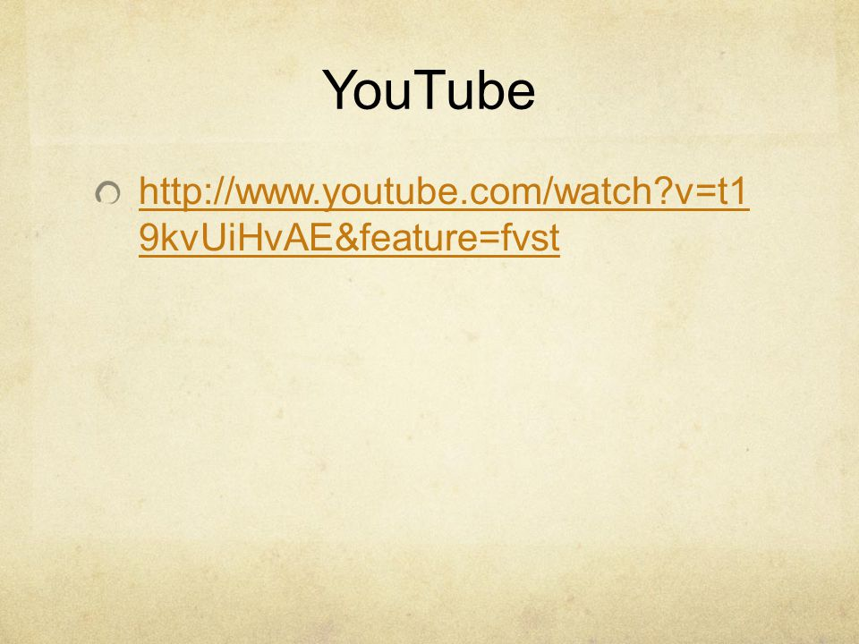YouTube http://www.youtube.com/watch v=t1 9kvUiHvAE&feature=fvst