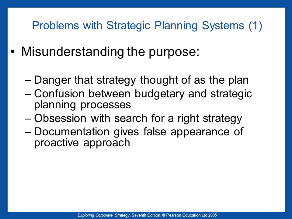 Problems with Strategic Planning Systems (1)