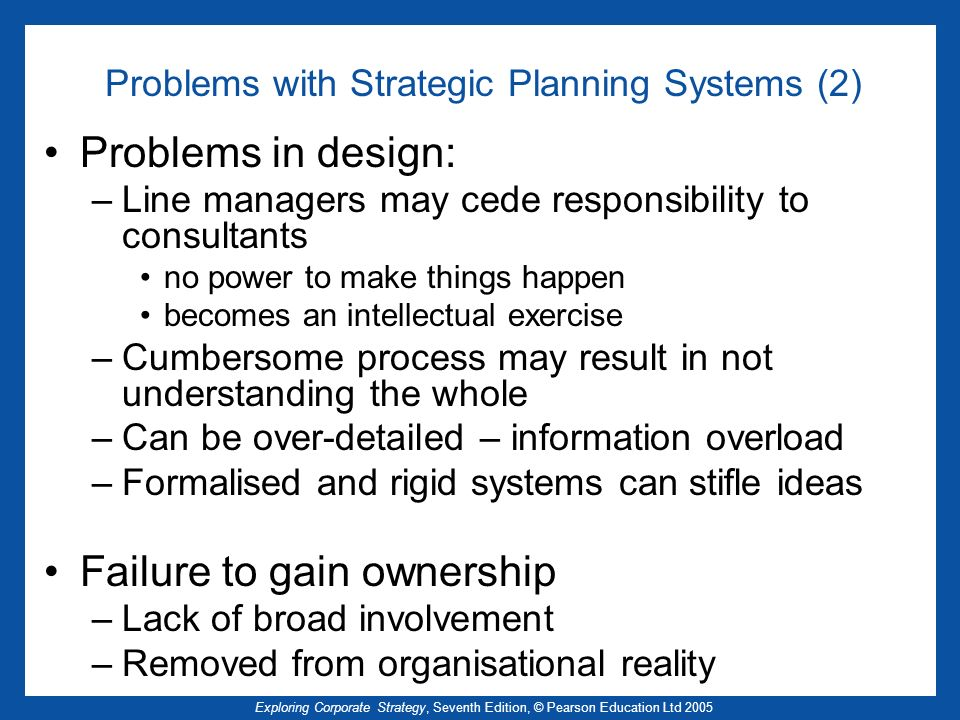 Problems with Strategic Planning Systems (2)