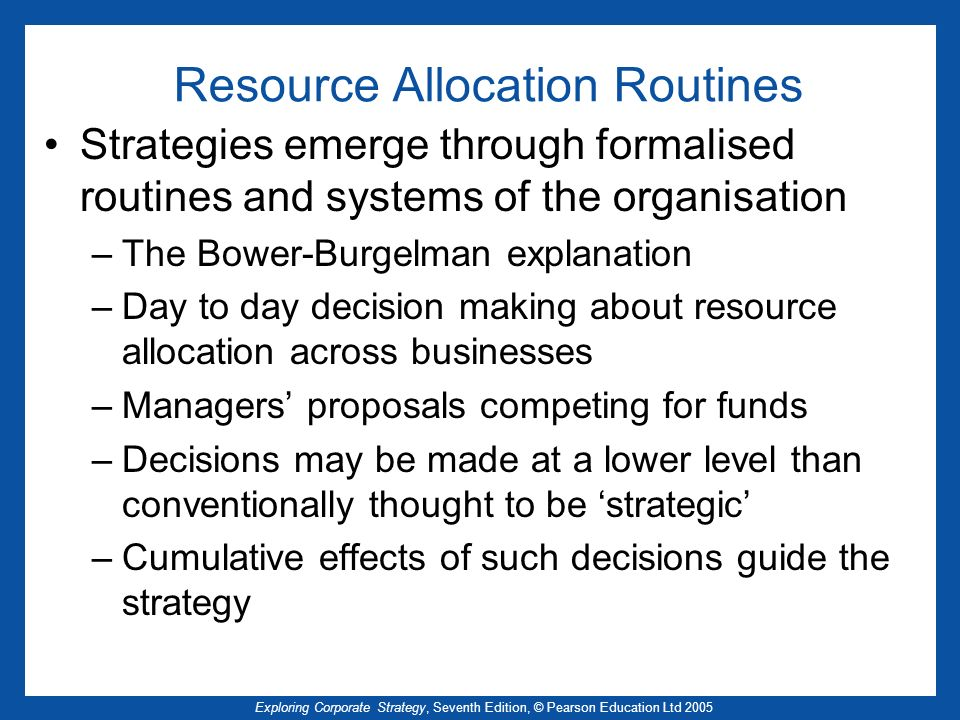 Resource Allocation Routines