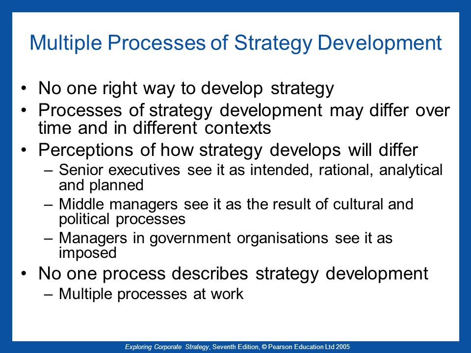 Multiple Processes of Strategy Development
