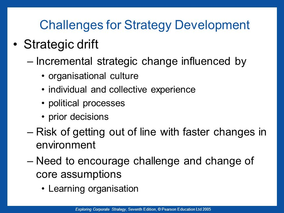 Challenges for Strategy Development