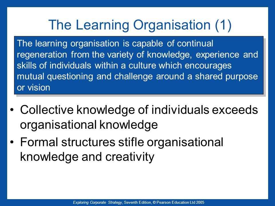 The Learning Organisation (1)