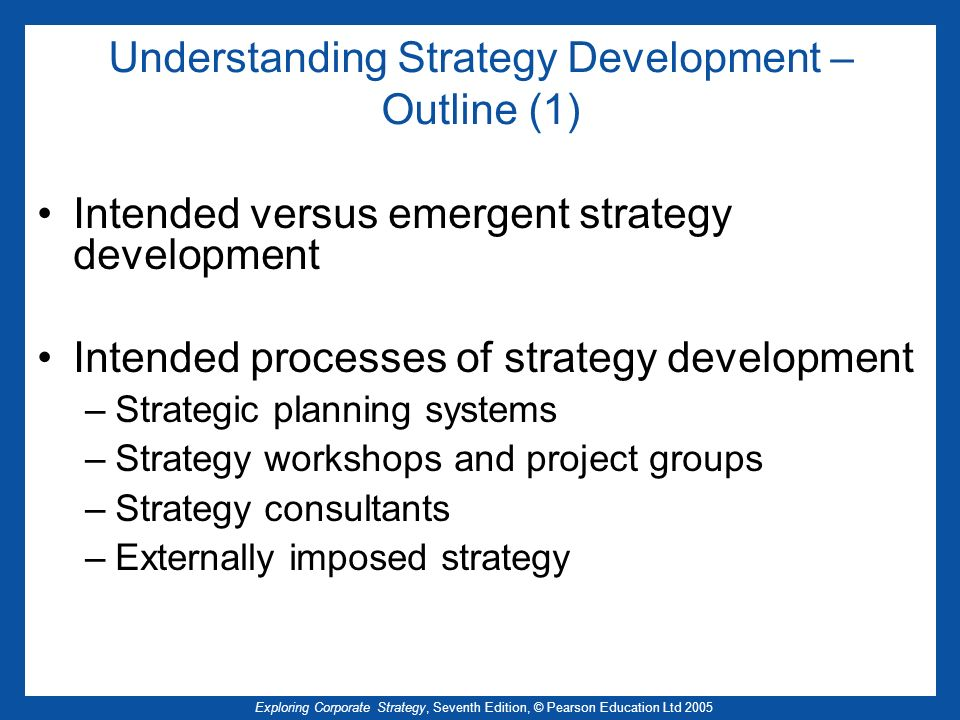 Understanding Strategy Development – Outline (1)