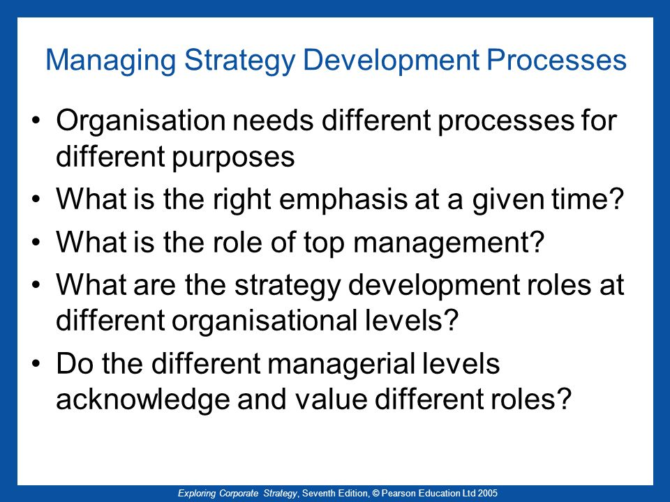 Managing Strategy Development Processes