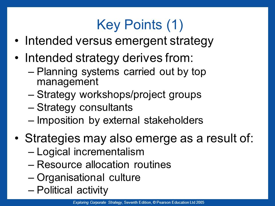 Key Points (1) Intended versus emergent strategy