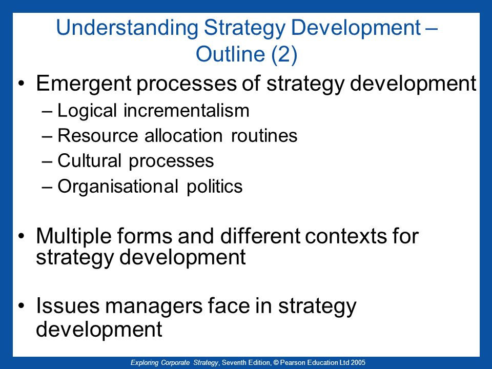 Understanding Strategy Development – Outline (2)