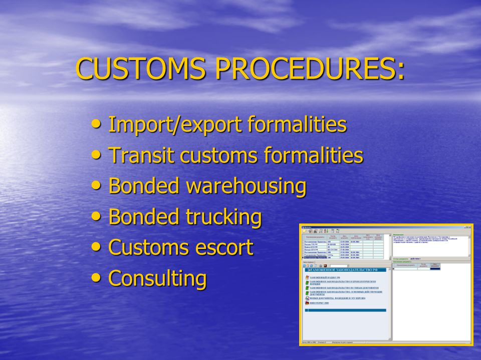CUSTOMS PROCEDURES: Import/export formalities