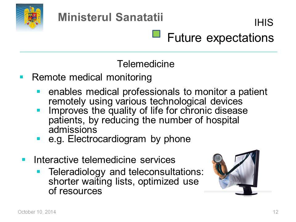 Future expectations Ministerul Sanatatii IHIS Telemedicine
