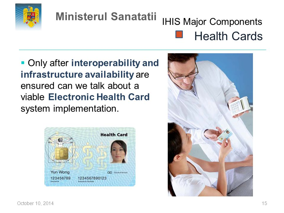 Health Cards Ministerul Sanatatii IHIS Major Components