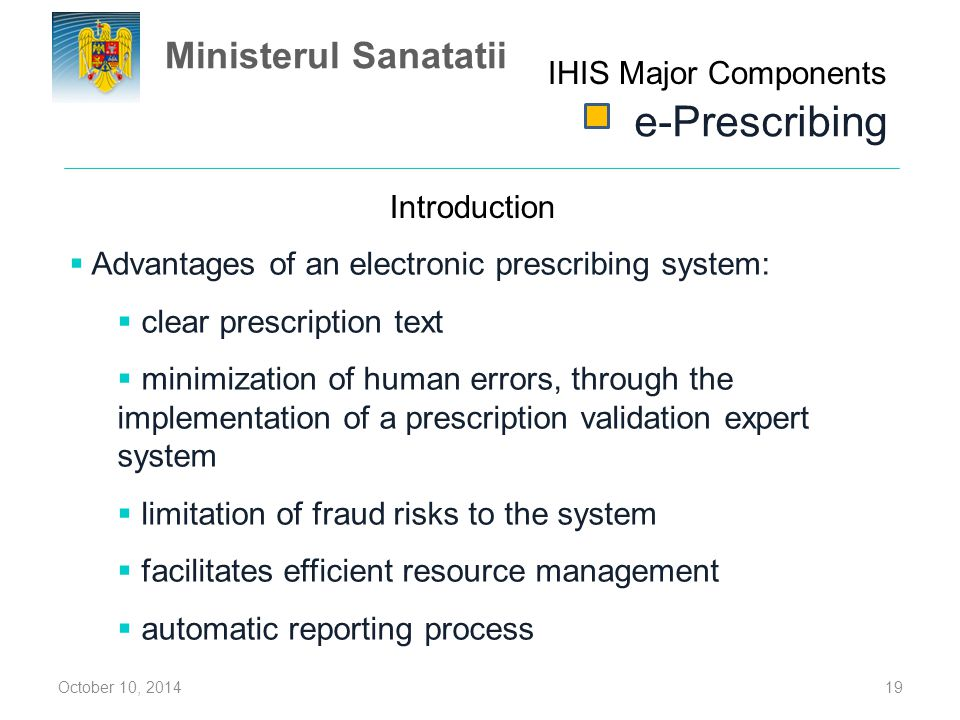 e-Prescribing Ministerul Sanatatii IHIS Major Components Introduction