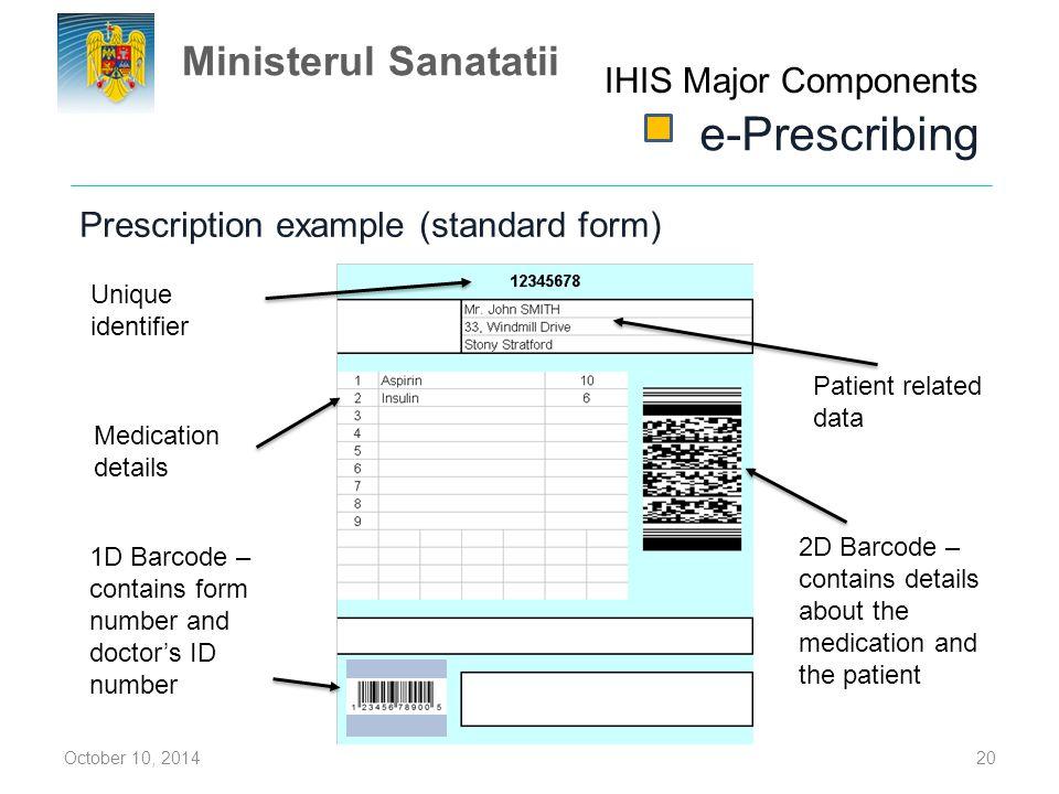 e-Prescribing Ministerul Sanatatii IHIS Major Components