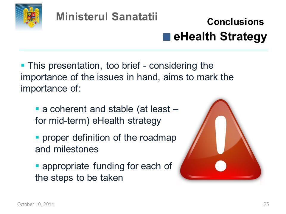 eHealth Strategy Ministerul Sanatatii Conclusions